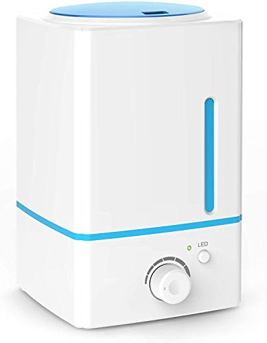 ASAKUKI Cool Mist Humidifier, Premium Ultrasonic Humidifiers Diffusers, Whisper Quiet Operation Top-Fill Humidifiers for Bedroom with 7-Color Night Lights