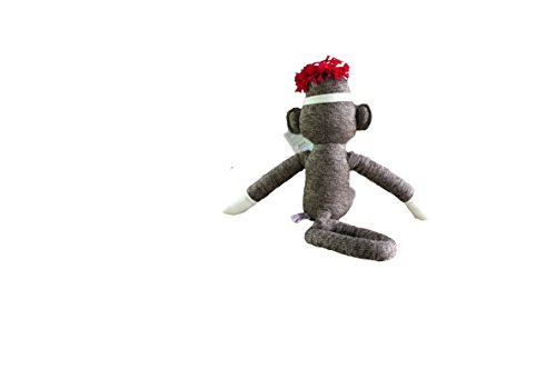 """MaEd by Aliens ORIGINAL SOCK MONKEY STUFFED ANIMAL PLUSH KNITTED BOYS BABY DOLL PUPPET GIFT PRESENT 20"""""""