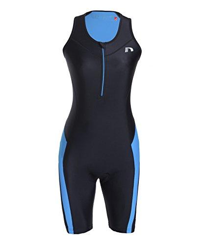 NewLine Combinaison de Triathlon pour Femme, Femme, Triathlon Anzug, Schwarz/Blau, M