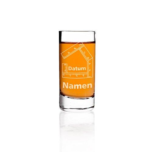 Herz & Heim® Schnapsglas zum Richtfest mit Gravur der Namen und des Datums - ideale Geschenkidee für Bauherren