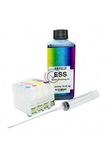 Kit de líquido para limpieza de cabezales e inyectores + cartuchos recargables Epson 2711 / 2714para impresora Workforce WF-7620DTWF / WF-7610DWF / WF-7110DTW / WF-3640DTWF / WF-3620DWF