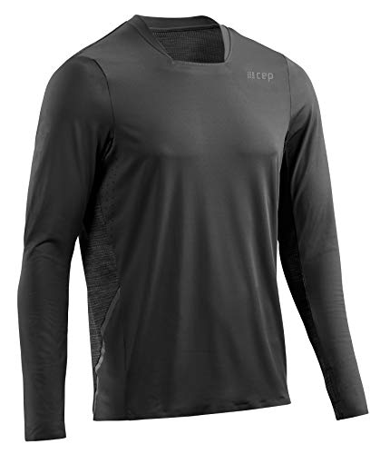 CEP – Run Shirt Long Sleeve für Herren   Atmungsaktives langes Laufshirt mit Mesh–Einsatz am Rücken in schwarz   Größe L