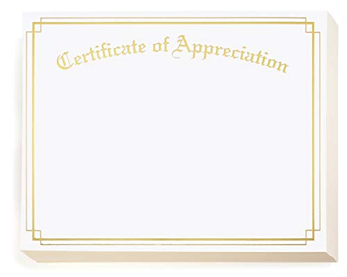 Price comparison product image Appreciation Gold Foil Border Specialty Certificates,  8 1 / 2 inch x 11 inch,  38lb White Stock,  50 Count