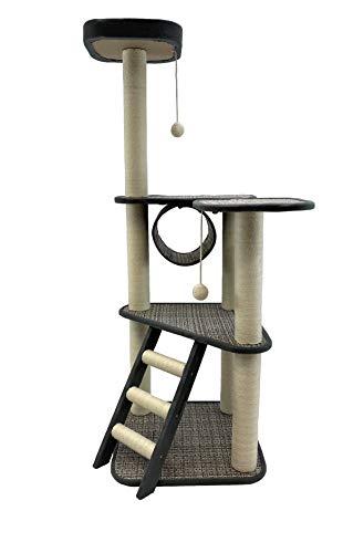 Goldenberg Katzenbaum Kratzbaum für Katzen Katzenhöhle Mittelhoch 136 cm, Katzenkratzbaum mit Aussichtsplattform Haus Treppe und 2 Spielbälle Sisal-Kratzstangen