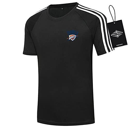 GAOjie Hombres Camisetas 100% Algodón Confortable Thunder Corto Manga Redondo Cuello Camisetas por Golf Clásico/Negro / 2XL