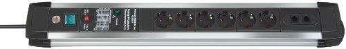 Brennenstuhl Premium-Protect-Line, Steckdosenleiste 6-fach mit Überspannungsschutz (3m Kabel und Schalter, Made in Germany) silber/schwarz