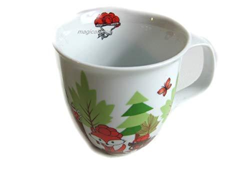 magicaldeco Porzellan- Tasse, Kakaotasse, Teetasse, Kindertasse- Waldtiere mit Bollenhut Schwarzwald