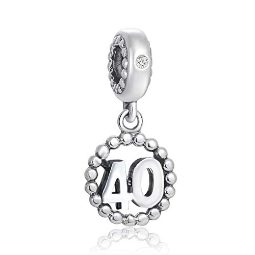 Choruslove Milestones 40 Number Charms for Pandora European Bracelet, 925 Sterling Silver Beads Inlay CZ Birthstone Dangle 40th Birthday Annivesary Pendant, Gifts for Valentines Day/Christmas/Hallowe