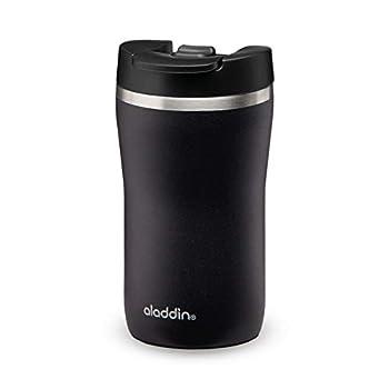 Aladdin Barista Café Thermavac Leak-Lock Mug de Voyage en inox 0.25 L Lava Black ? Étanche - Tasse à Double Paroi Isolante - Garde Chaud 2,5 Heures- Sans BPA - Va au Lave-Vaisselle