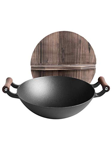 GCE Poêle à Sauter du Chef en Acier Inoxydable Wok à Couvercle en Bois à Double Oreille en Fonte poêle antiadhésive sans revêtement Domestique cuiseur à Induction à Usage général-B_36cm