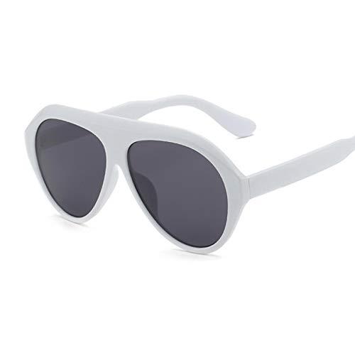 NJJX Gafas De Sol Negras De Moda Para Mujer, Gafas De Sol De Gran Tamaño De Lujo Para Mujer, Vintage, Gran Marco, Gradiente, Espejo, Blanco, Gris