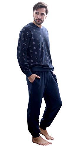 NORMANN-Wäschefabrik Herren Frottee Pyjama lang mit Bündchen - auch in Übergrössen bis Gr. 70-291 101 93 454, Farbe:Marine, Größe2:50