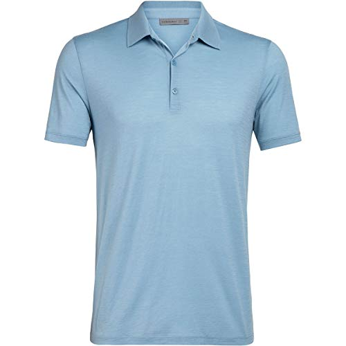 Icebreaker Tech Lite Polo Manches Courtes Homme, Waterfall Modèle L 2020 T-Shirt Manches Courtes