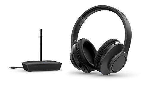 Philips H6005BK/10 Over-Ear TV Kopfhörer Kabellos (100 m Reichweite, 18 Stunden Wiedergabezeit, 30-mm-Neodym-Treiber, Passive Geräuschisolierung, Verstellbarer Kopfbügel) Schwarz - 2020/2021 Modell