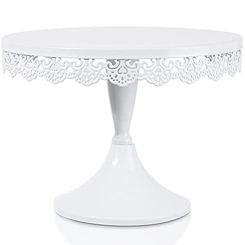 JUJOYBD Tortenplatte mit Fuß, Tortenständer Vintage, Kuchenplatte Metall, Cake Stand, Präsentation für Torten Kuchen Dessert Deko für Party Hochzeit, Rund 25cm (Weiß)