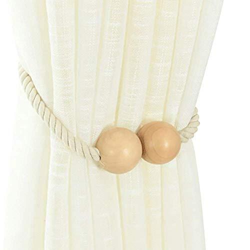 N-brand Stilvolle Holzperle Weben Seil Magnetische Vorhang Krawatte Zurück Vorhang Clips Seil Ring Halter Natürliche Farbe Tragbar und Nützlich