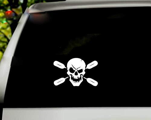 Autoaufkleber 19X12 Cm Schädel Ruder Auto Aufkleber Aufkleber Kajak Kanu Paddel Karosserie Fenster Tür Heckscheibe