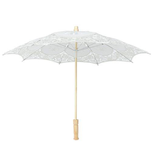 Amosfun Spitzenschirm Hochzeit Sonnenschirm Stick Regenschirm Basteln für Braut Brautschmuck Damen Fotografie Requisiten Tee Party Bühne Show Supplies, beige (Beige) - 09LG62602D0ZD6EWQFA21N
