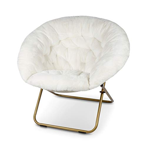 Milliard Cozy Chair/Faux Fur Saucer Chair for Bedroom/X-Large, White
