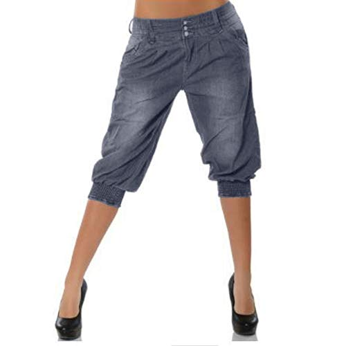 JOFOW Womens Midi Shorts Low Waist Loose Harem Elastic Band Washed Comfy Straight Leg Denim Yoga Pants Knee Length Jeans (S =US:2-4,Gray)