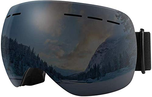 Scoteep Ski Goggles, OTG Snowboard Goggles - Anti-Fog UV400 Protection Snow Goggles for Men, Women, Youth and Kids