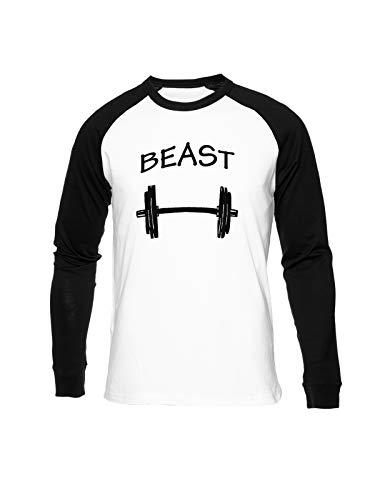 Fioze Beast and Dumbbell Camiseta Béisbol Unisex Cuello Redondo Baseball Unisex T-Shirt