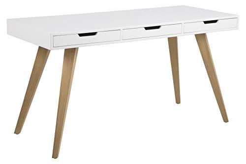AC Design Furniture Schreibtisch Melanie, B: 141,8 x T:60 x H: 75,8 cm, MDF, Weiss