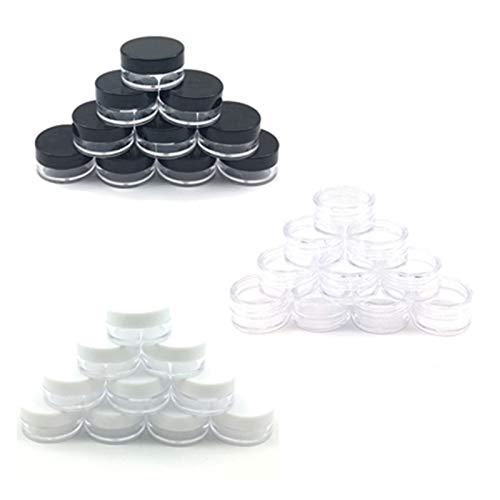 QXLG Embotellado 10 unids Frasco cosmético 2/3/5/10/15 / 20G Pequeño Cosmético vacío Botellas Recargables Plastic Sombra de Ojos Maquillaje Face Crema Jar Pote Contenedor Frasco