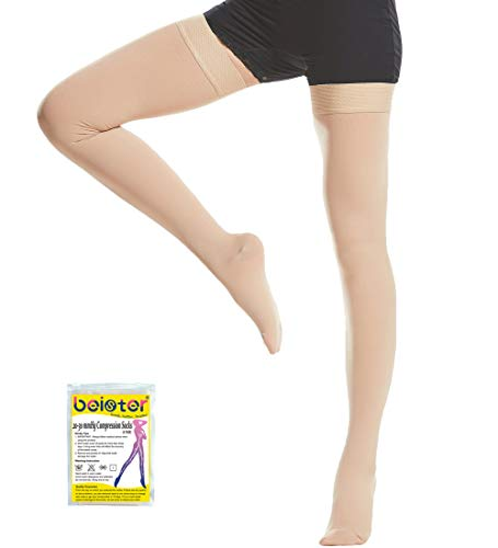 Beister Medical Closed Toe Thigh High Compression stockings with Silicone Band for Women & Men, Firm 20-30 mmHg Graduated Support for Varicose Veins, Edema, Flight (Medium, Black)
