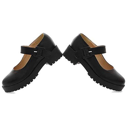 Zapatos Vintage Mary Janes para Mujer, Bonitos Zapatos de Punta Redonda Lolita para Cosplay, Zapatos de Escuela de tacón Cuadrado con Hebilla de Cuero PU