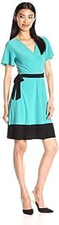 Star Vixen Women's Sleeve Surplice Bodice Short Dress with Contrast Black Tie Belt and Hem