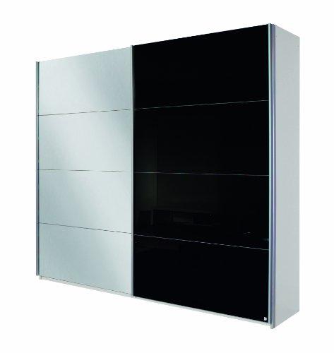 Rauch Schwebetürenschrank Quadra in Alpinweiß / Glas Schwarz BxHxT 62x210x226cm