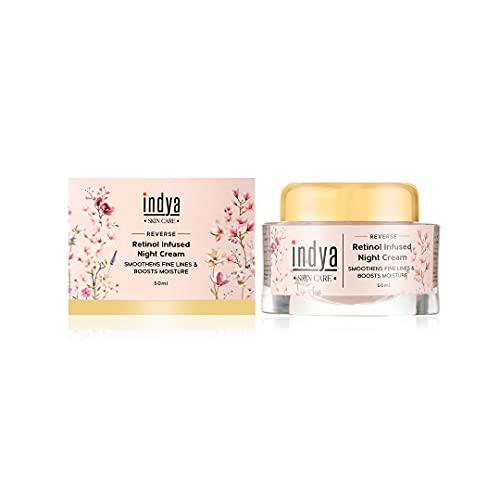 Indya Natural Hydrating Anti Ageing Night Cream    Infused with Retinol    Boost Moisturizer    Fights fine lines & wrinkles -50ml