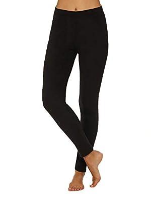 Cuddl Duds ClimateRight Womens Stretch Fleece Warm Underwear Leggings/Pants (S, Truest Black)