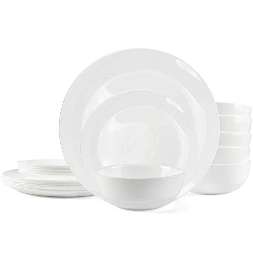 Dinnerware Set Danmers 18-piece Opal Dishes Sets Service for 6 Plates Bowls 5.5' Break and Crack Resistant Dish Sets