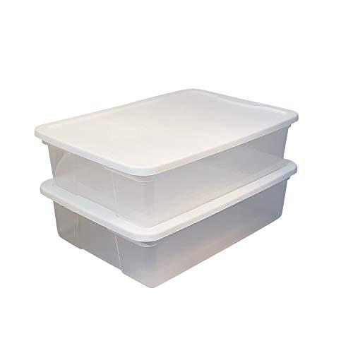 HOMZ Snaplock Clear Storage Bin with Lid, Medium-28 Quart, White, 2 Count