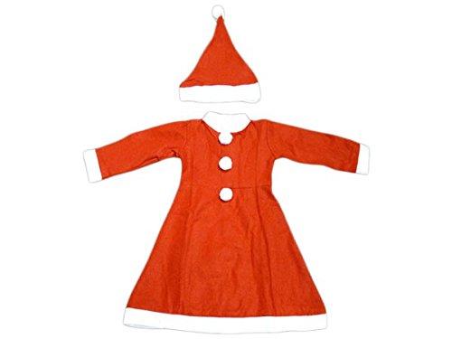 PROMOTION: Costume mère noël déguisement pour fille enfant complet pas cher (wk-70/71), ensemble de 2 pièces: robe et bonnet en feutrine très douce cadeau sympa tenue habit girl original joyeux miss Santa Christmas joyeuse fête de fin, wk enfant:6-8 ans