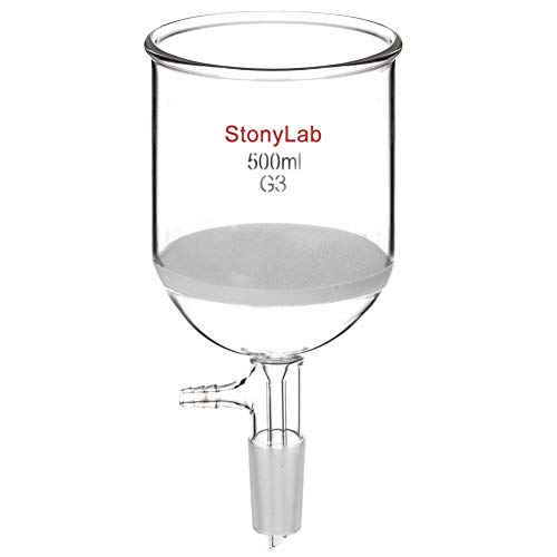 StonyLab Glas Buchner Trichter Filter, Borosilicatglas Vakuum Buchner Filtertrichter mit Feiner Fritte(G3), 94mm Scheibendurchmesser, 100mm Tiefe, mit 24/40 Standard Taper Innengelenk - 500ml