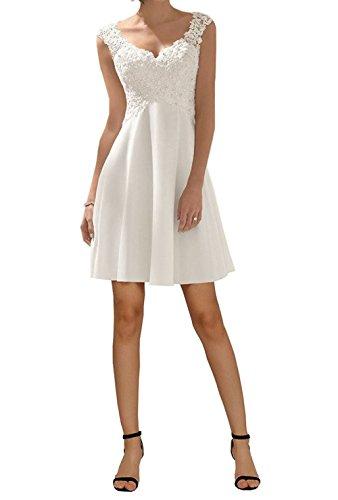 Cloverbridal Elegante Kurz/Lang Hochzeitskleid V-Ausschnitt Spitze Chiffon Brautkleid