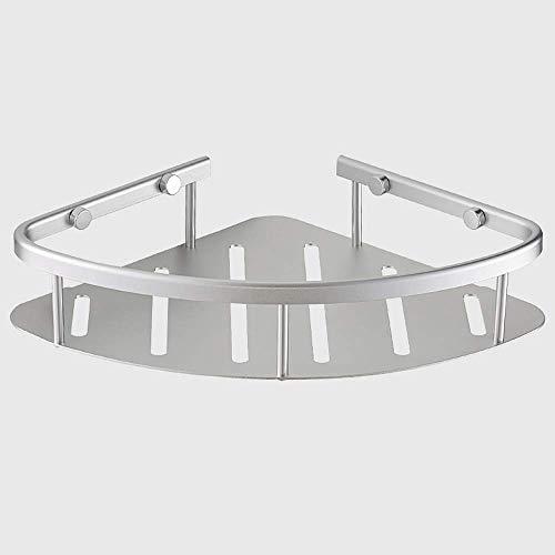 Boaber Cesta de almacenamiento plateada para carrito de ducha, estante de esquina para ba?o, estante montado en la pared, espacio a prueba de óxido, soporte de aluminio triangular para cocina con acab