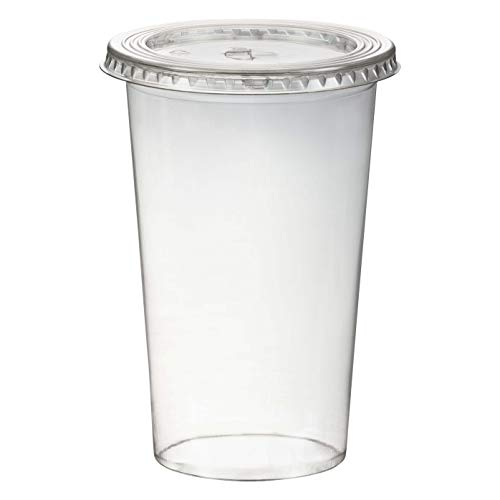 1-PACK Smoothiesbecher inkl. Deckel mit Schlitz 500 ml, Ø 95mm, PET, glasklar, 50 Stück