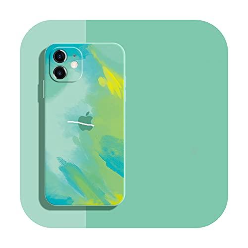 Funda de silicona líquida suave Wartercolor para iPhone 12 Mini 11 Pro Max 11Pro 12Pro Xs X Xr Soft Cover para iPhone 7 8 Plus-TianQin-para iPhone 11ProMax