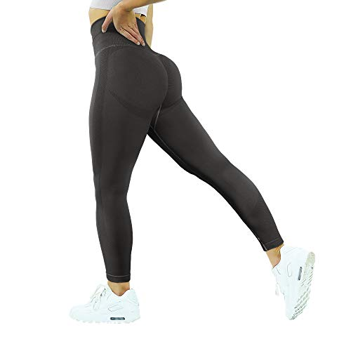 MOOSLOVER Seamless Butt Lifting Workout Leggings for Women High Waist Yoga Pants Compression Contour Tights(M,Black)