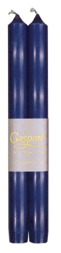 Entertaining with Caspari 10-Inch Taper Dripless, Smokeless, Unscented Candles, Marine Blue, Set of 2