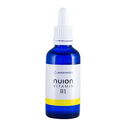 NUION Vitamina B1 50 ml, ayuda a las funciones normales del sistema nervioso, del metabolismo y del corazón, producto vegano