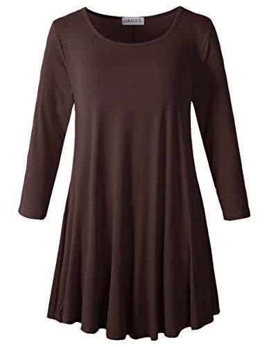LARACE Women 3/4 Sleeve Tunic Top Loose Fit Flare T-Shirt(2X, Coffee)