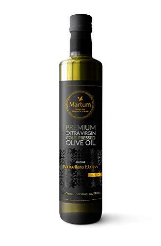 Olivenöl Ernte 2020 - Sizilianisches kaltgepresstes natives Olivenöl vom Vulkan Ätna, aus Italien - mild, fruchtig, köstlich - Martum Premium direkt vom Erzeuger, ungefiltert - 750 ml (1 Flasche)