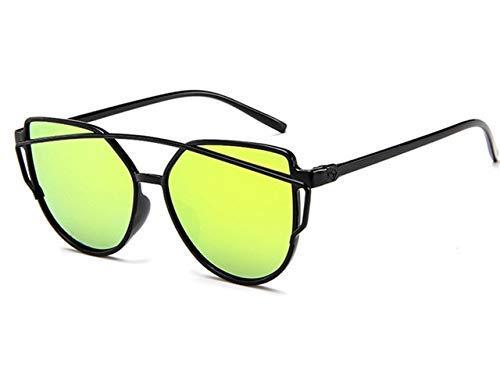 ZHAS High-End-Brillen Sonnenbrillen Damen Twin-Beams Beschichtung Spiegel Sonnenbrille Damen Retro-Kunststoff-Sonnenbrille Personalisierte High-End-Sonnenbrille Gold