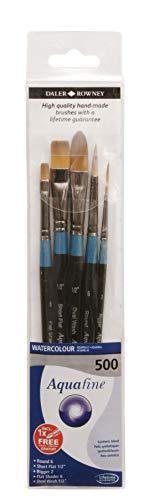 Aquafine Daler Rowney, 5 pennelli per acquerello, 500, fatti a mano, nero, manico corto