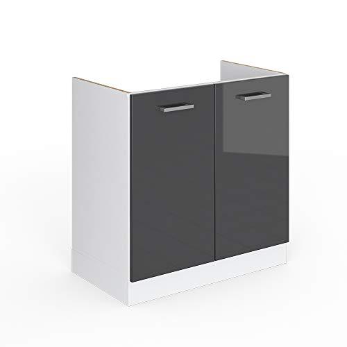 Vicco Küchenschrank R-Line Hängeschrank Unterschrank Küchenzeile Küchenunterschrank Arbeitsplatte, Möbel verfügbar in 6 Dekoren (anthrazit ohne Arbeitsplatte, Spülenunterschrank 80 cm)